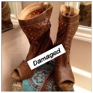 JoMax Beige Peeptoe Cowboy Boots size 5 1/2